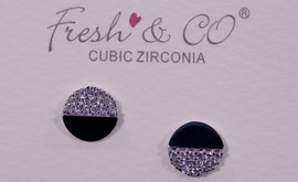 Lamant White Gold Dipped CZ Half Crystal Circle Earrings