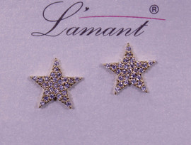 Lamant Gold Dipped CZ Crystal Star Earrings