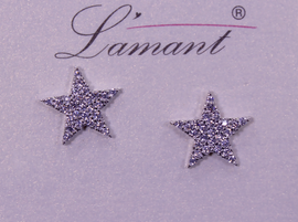 Lamant White Gold Dipped CZ Star Earrings