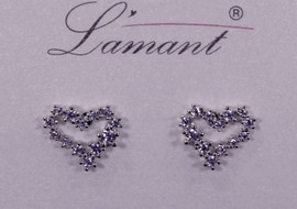 Lamant White Gold Dipped CZ Fiber Heart Earrings