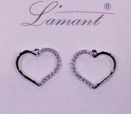 Lamant White Gold Dipped CZ Crystal Lined Heart Earrings
