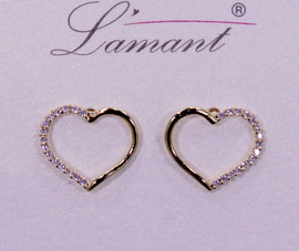 Lamant Gold Dipped CZ Crystal Lined Heart Earrings