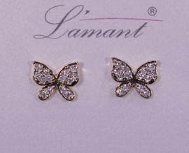 Lamant Gold Dipped CZ Crystal Butterfly Earrings