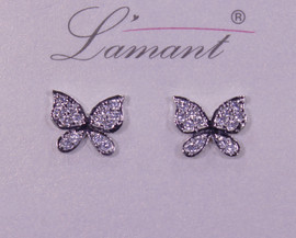 Lamant White Gold Dipped CZ Crystal Butterfly Earrings
