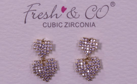 Fresh & Co Gold Dipped CZ Double Pixel Heart Earrings