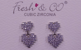 Fresh & Co White Gold Dipped CZ Double Pixel Heart Earrings