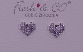 Fresh & Co White Gold Dipped CZ Pixel Heart Earrings