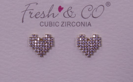 Fresh & Co Gold Dipped CZ Pixel Heart Earrings