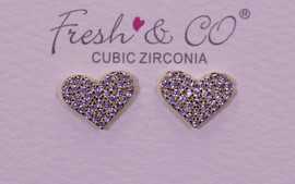 Fresh & Co Gold Dipped CZ Heart Earrings