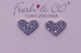 Fresh & Co White Gold Dipped CZ Heart Earrings