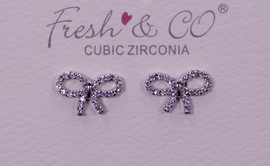 Fresh & Co White Gold Dipped CZ Bow Earrings
