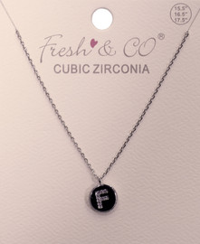 """Fresh & Co White Gold Dipped CZ """"F"""" Letter Necklace"""