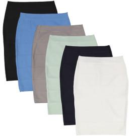 BGDK Womens Ribbed Bandage Pencil Skirt
