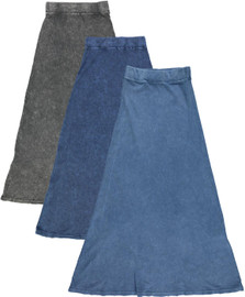 Kiki Riki Womens Ribbed Stonewash Long A-line Skirt