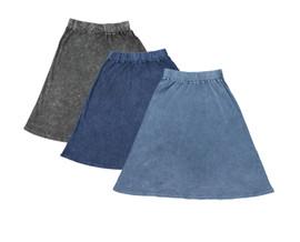 Kiki Riki Womens Ribbed Stonewash A-line Skirt