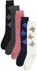 BlinQ Girls Glitter Butterfly Patch Knee High Socks - 2019510