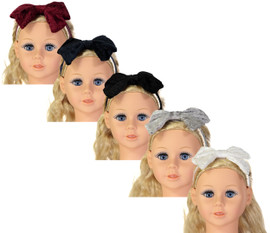Riqki Baby Girls Headband - HB1923 - Embossed Velvet Bow