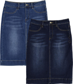 BGDK Womens Long Denim Straight Skirt - BK-DC703S