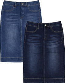 BGDK Womans Longer Denim Straight Skirt- BK-DC703