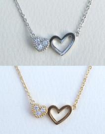 Fresh & Co Double Heart Necklace - DN6001CR
