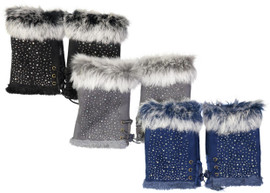 Riqki Womens Rhinestone & Fur Fingerless Gloves - LG315