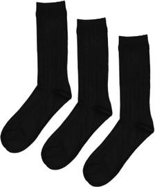 Memoi Boys Bamboo 3PP Ribbed Socks - MK-10960
