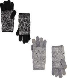 Riqki Womens Layered Knit Gloves - EAGL3543