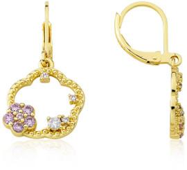 LMTS Girls Crystal Flower Leverback Dangle Earrings - ER6177B-PK-GP