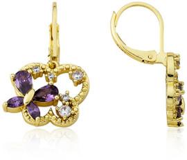 LMTS Girls Butterfly Leverback Dangle Earrings - ER6186B-PU-GP
