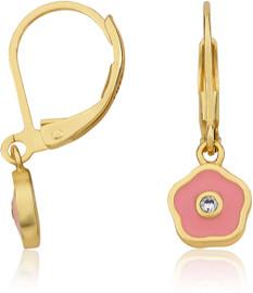 LMTS Girls Pink Frosted Flower Crystal Center Earrings - ER6258B-PK-GP