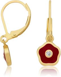 LMTS Girls Red Frosted Flower Crystal Center Earrings - ER6258B-R-GP