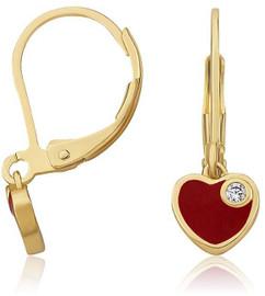 LMTS Girls Red Enamel Dangle Heart Earrings - ER6284B-R-GP