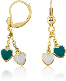 LMTS Girls Turquoise/White Enamel Hearts Lariat Leverback Earrings - ER6344B-TQ-GP