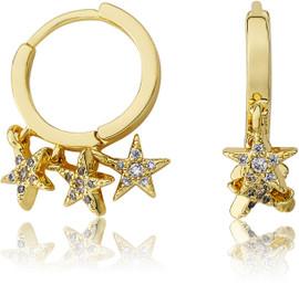 LMTS Girls CZ Stars Dangle Earrings - ER6469B-GP