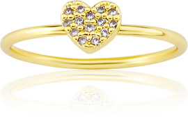 LMTS Girls Gold-Plated Heart Ring - RG6018B-GP