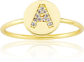 "LMTS Girls Gold-Plated ""A"" Letter Ring - RG6025B-A-GP"