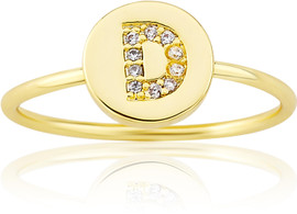 "LMTS Girls Gold-Plated ""D"" Letter Ring - RG6025B-D-GP"