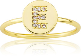 "LMTS Girls Gold-Plated ""E"" Letter Ring - RG6025B-E-GP"