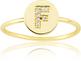 "LMTS Girls Gold-Plated ""F"" Letter Ring - RG6025B-F-GP"