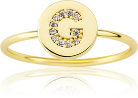 "LMTS Girls Gold-Plated ""G"" Letter Ring - RG6025B-G-GP"