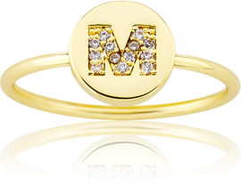 "LMTS Girls Gold-Plated ""M"" Letter Ring - RG6025B-M-GP"