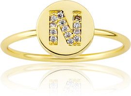 "LMTS Girls Gold-Plated ""N"" Letter Ring - RG6025B-N-GP"