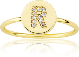 "LMTS Girls Gold-Plated ""R"" Letter Ring - RG6025B-R-GP"