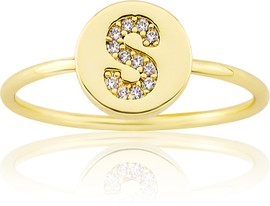 "LMTS Girls Gold-Plated ""S"" Letter Ring - RG6025B-S-GP"