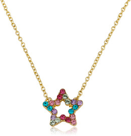 LMTS Girls Multicolor CZ Open Star Necklace - NE4247B-M-GP