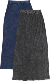 Kiki Riki Womens Ribbed Stonewash Long Straight Skirt - 41955