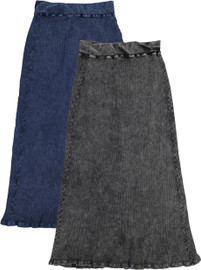 Kiki Riki Womans Thick Ribbed Stonewash Long Straight Skirt - 41935