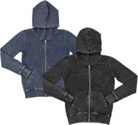 Basiq Apparel Boys Girls Unisex Denim Wash Hoodie Sweatshirt - HZ001K