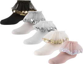 Zubii Girls Flying Sequined Tulle Ankle Socks - 642