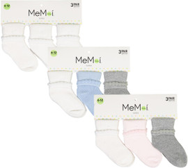 Memoi Baby Boys Girls Unisex Bootie Socks 3 Pack - MK-5080